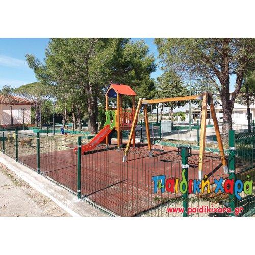 Ανακαίνιση παιδικής χαράς με ξύλινες κατασκευές