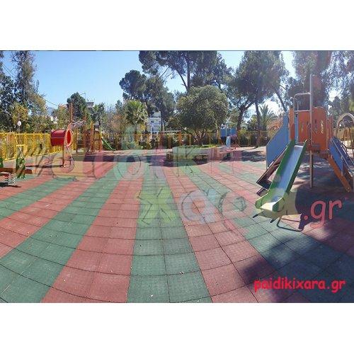 Παιδική χαρά με 1000τ.μ. ελαστικό δάπεδο ασφαλείας