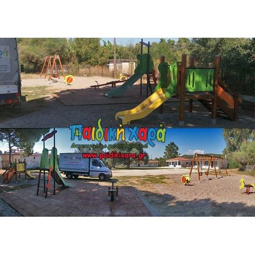 Νέα παιδική χαρά στο Δήμο Ήλιδας με συνδυασμό δαπέδου EPDM - ποταμίσιου βοτσάλου 2-8χιλ.
