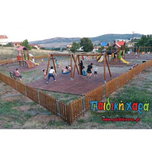Εκσυγχρονισμός παιδικής χαράς με ξύλινα όργανα και δάπεδο EPDM στο νομό Φθιώτιδας