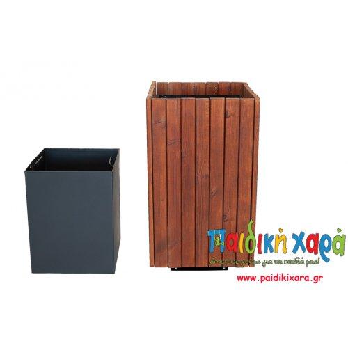 Τετράγωνος ξύλινος κάδος 45lt με εσωτερικό καλαθάκι