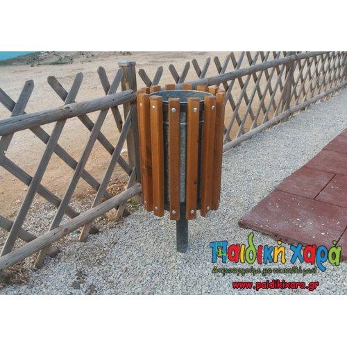 Κάδος μεταλλικός στρογγυλός με επένδυση ξύλου (60lt)