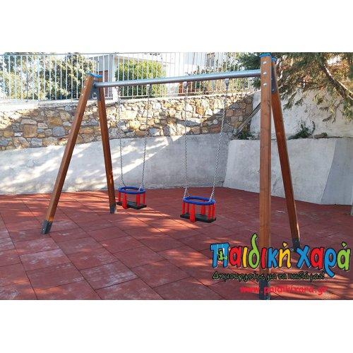 Ξύλινη κούνια παιδικής χαράς νηπίων 2 θέσεων με στρογγυλό μεταλλικό οριζόντιο