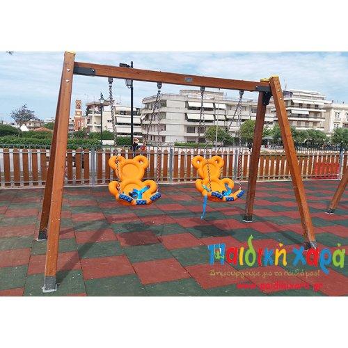 Ξύλινη κούνια παιδικής χαράς ΑμΕΑ 2 θέσεων