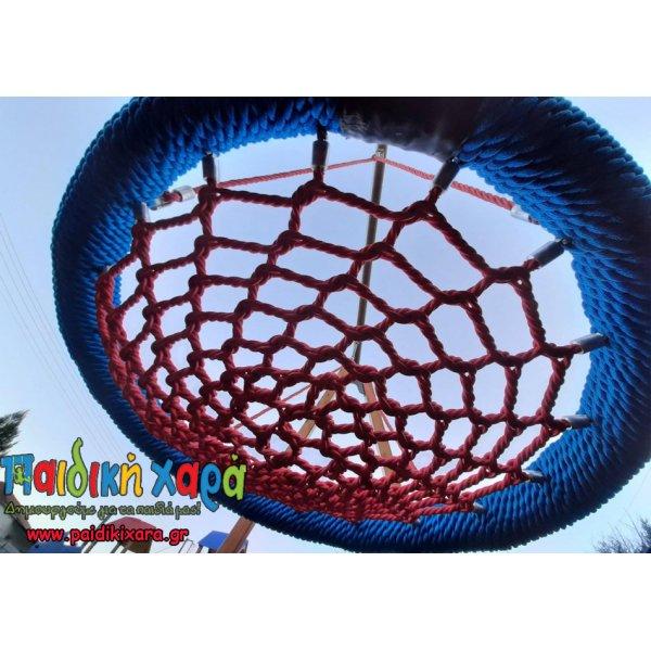Ξύλινη κούνια φωλιά / μπάλα με μεταλλικό οριζόντιο