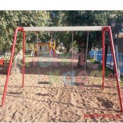 Μεταλλική κούνια παιδικής χαράς παιδιών 2 θέσεων