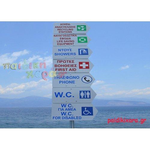 Πινακίδες αλουμινίου σήμανσης με βέλος ακτών-πόλεων-δρόμων