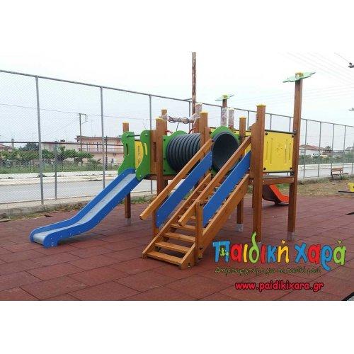 Σύνθετο παιδικής χαράς με τούνελ, τσουλήθρες και αναρρίχηση