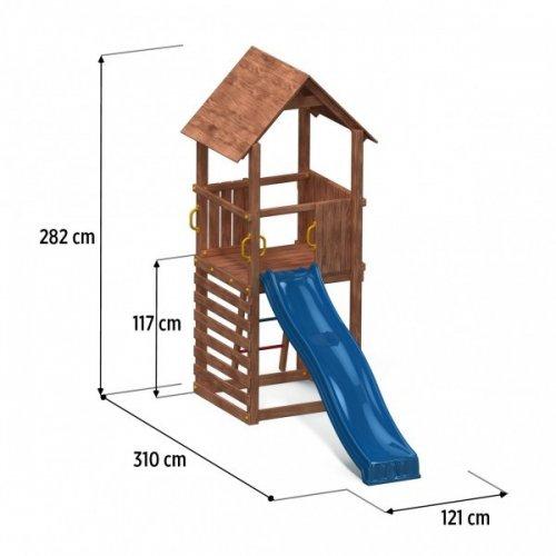 Ξύλινη Παιδική Χαρά κήπου με τσουλήθρα και σκεπή