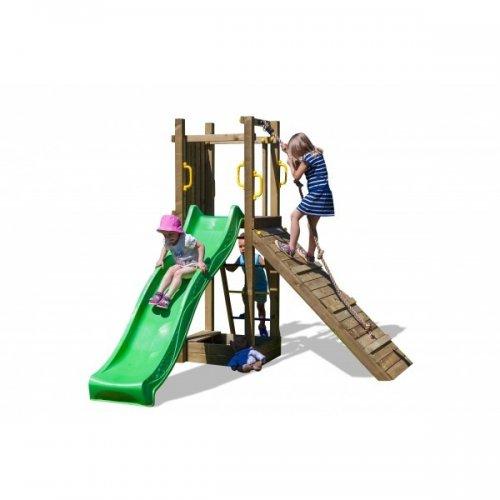 Ξύλινη Παιδική Χαρά Με Τσουλήθρα , ράμπα αναρρίχησης και αμμοδόχειο