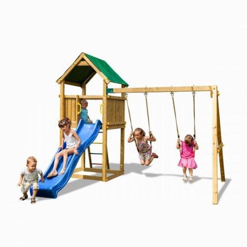 Ξύλινη Παιδική Χαρά Με Τσουλήθρα και διπλή κούνια