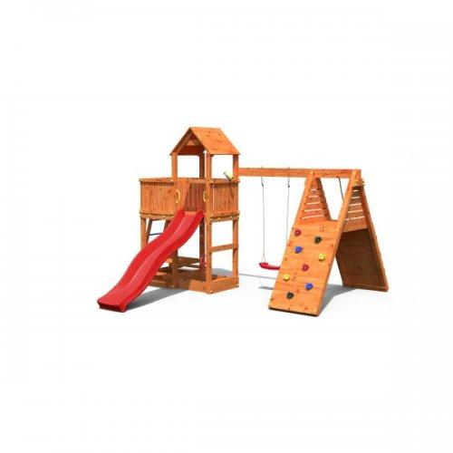 Ξύλινη Παιδική Χαρά κήπου με τσουλήθρα και πλάγιο τοίχο αναρρίχησης