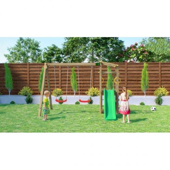 Ξύλινη Παιδική Χαρά κήπου με τσουλήθρα και διπλή κούνια