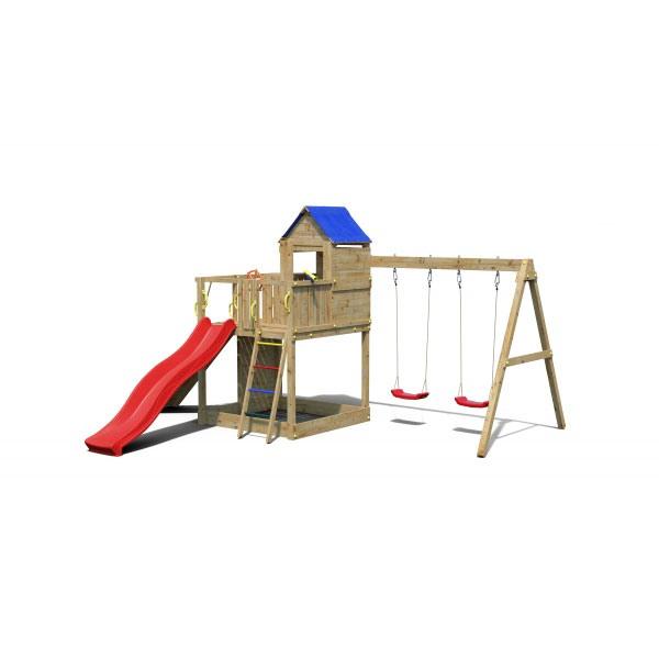 Ξύλινη Παιδική Χαρά κήπου με Tσουλήθρα και τοίχο αναρρίχησης